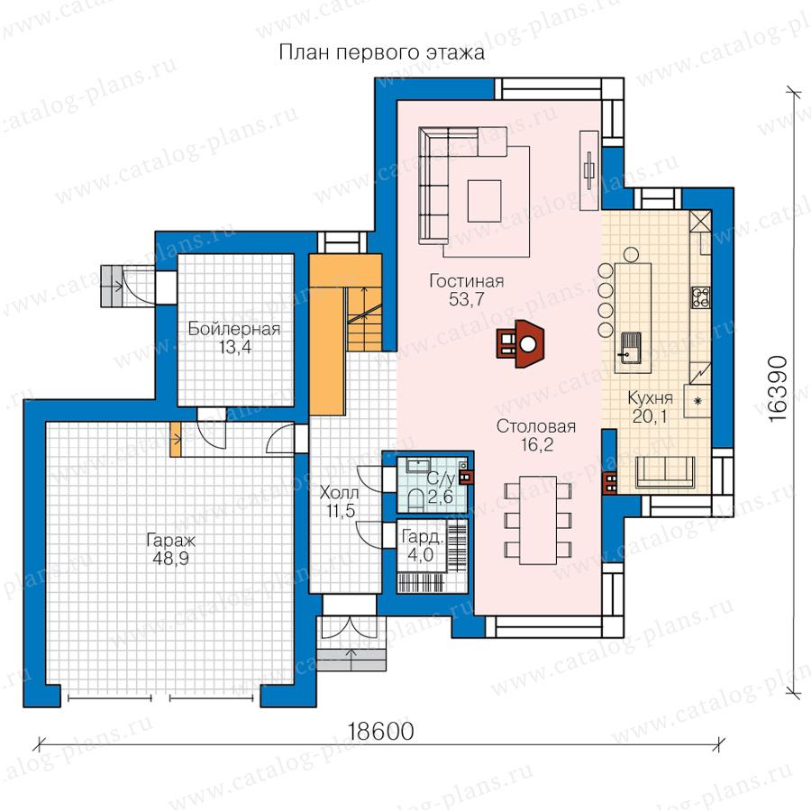 1этаж. План проекта №62-16