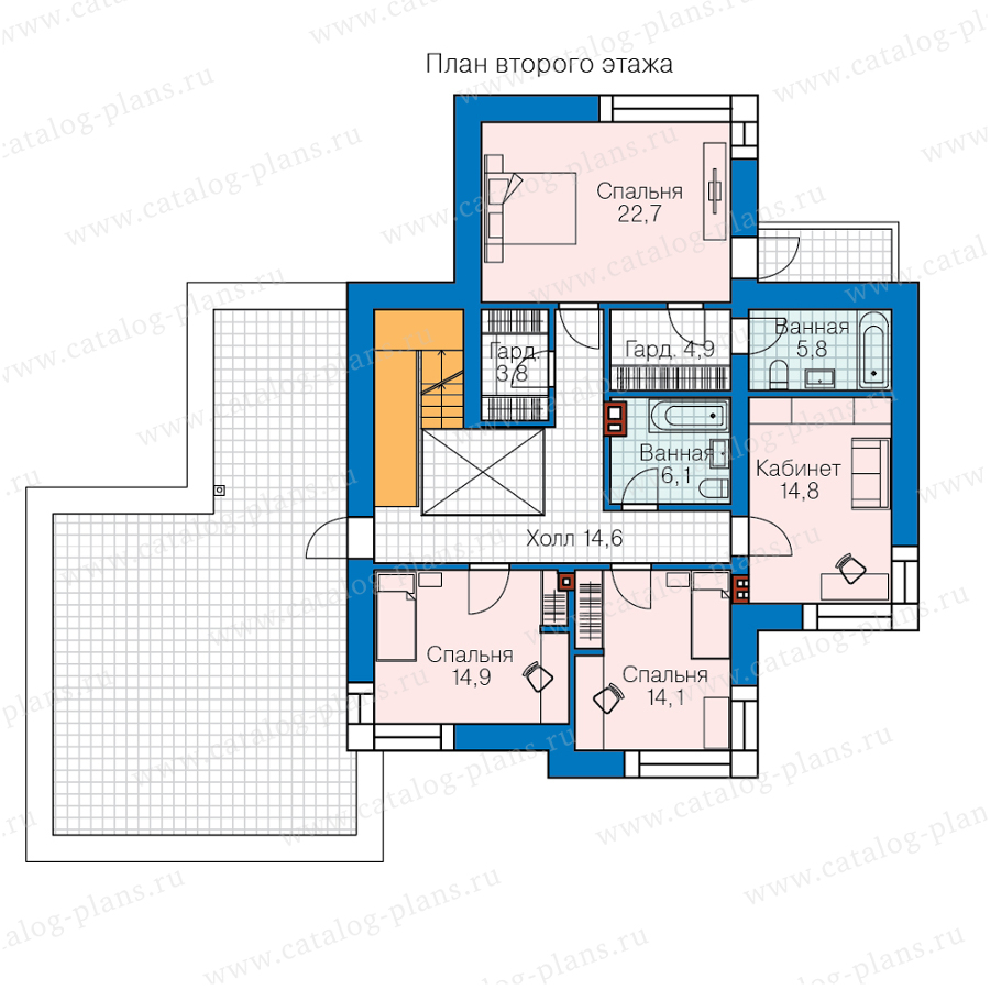 2этаж. План проекта №62-16