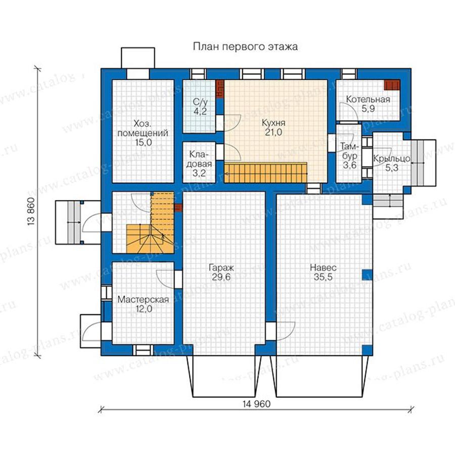 1этаж. План проекта №90-23